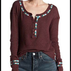 Free People Rainbow Thermal Tee